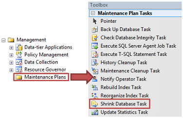 Maintenance Plans Shrink Database Task