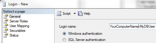 Create SQL Server Login