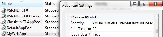 Set Application Pool Identity